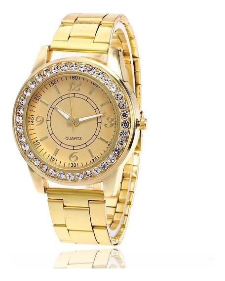Relógio Dourado Feminino Diamantes Queima De Estoque