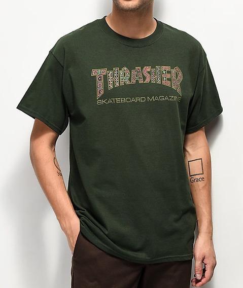 Remera Thrasher Hombre - Davis Forest Green - Tattoo-skate
