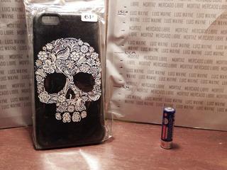 Protector Negro Case Silicona iPhone 6 Plus Calavera Flores