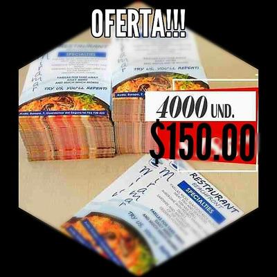 Impresion De Volantes 4000 ( Solo Tiro) $150.00
