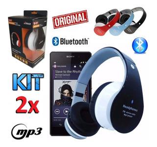 Kit 2 Fones Ouvido Sem Fio Bluetooth Headset Mp3 Sd Rádio Fm
