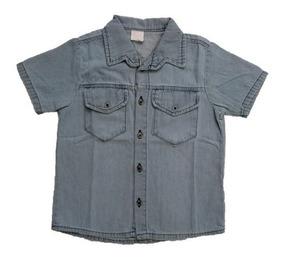 Camisa Jeans Infantil Menino - Manga Curta - Roupa