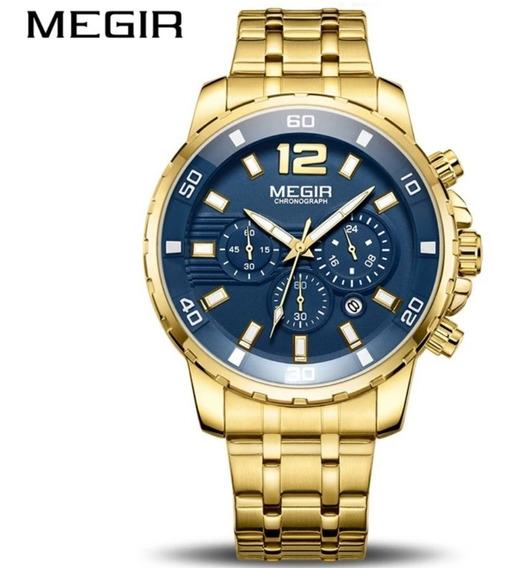 Relógio Masculino Cronógrafo Megir 2068 Barato Aço Inoxidáve