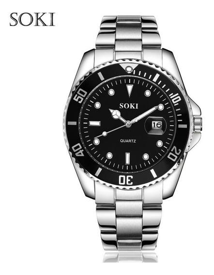 Reloj Hombre Acero Cuarzo Marca Soki Modelo S-1012 Negro