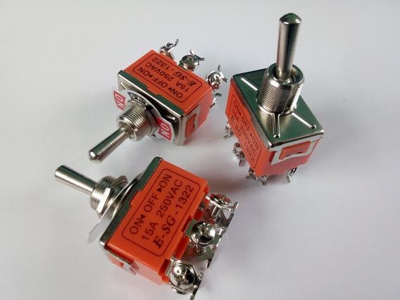 2 Switch Interruptor De Palanca 6 Patas 2 Polos 250v 15 Amp