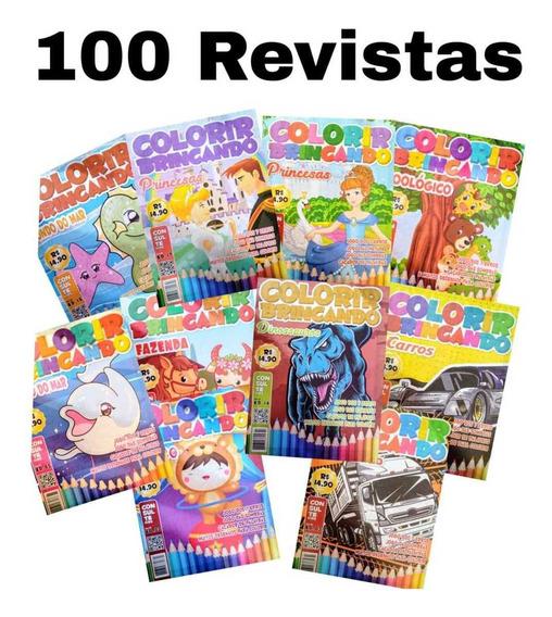 100 Revistas De Colorir Com Atividades 27x20 Cm.