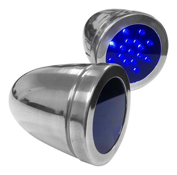 Kit 2 Lanterna Cabine Interna Led Azul Coruja Caminhão 24v