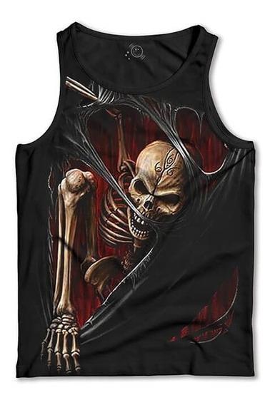 Regata Esqueleto 3d Camiseta Regata Masculina