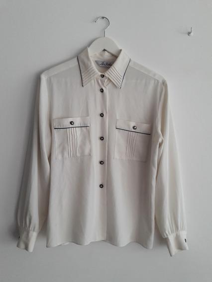 Camisa Vintage La Scala Color Crema Talle L