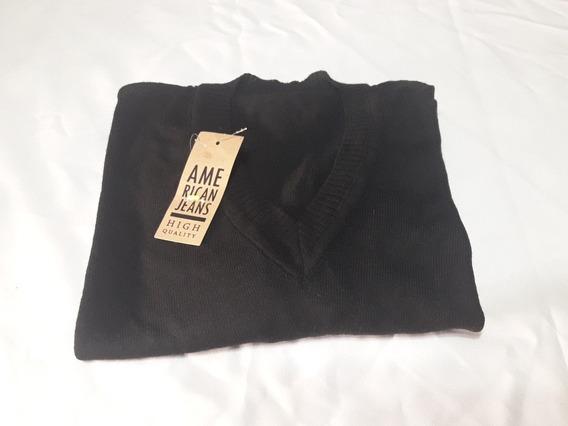 Sweter Hombre Lana Negro Talle 4 Escote V