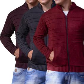 Casaco De Lã Batida Masculino Kit 3 Jaqueta Tricô Para Frio