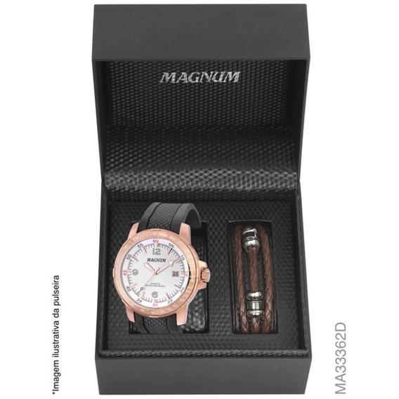 Relógio Magnum Kit Masculino Brinde Pulseira Ma33362d