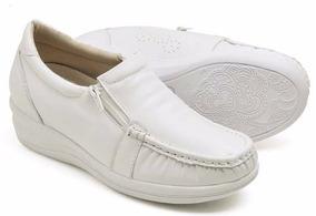 Mocassim Feminino Sapato Enfermagem Couro Anti Stress Branco