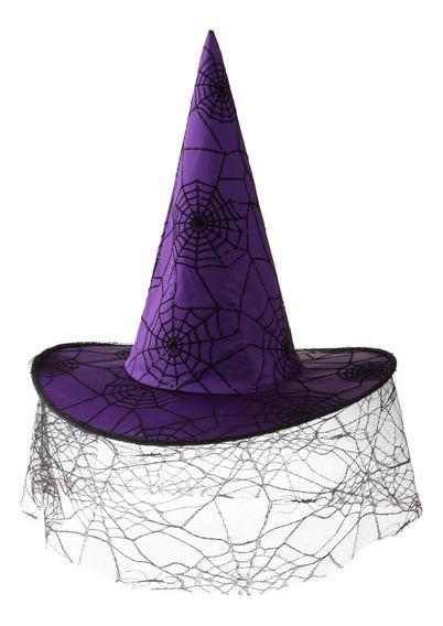 Criança Adulto Roxo Spiderweb Witch Hat Feiticeiro Capacete