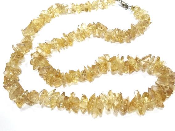 Colar Gargantilha De Citrino Natural Em Cascalhos Pedra Amarela Da Fartura E Prosperidade