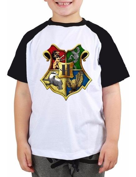 Harry Potter Hp Hogwart Camiseta Raglan Criança Tam 2 Ao 14