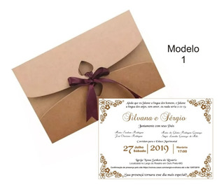 100 Convites + 100 Envelopes Casamento Luxo 15x21 Cm 21 X 15