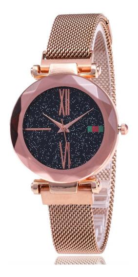 Kit Com 2 Relógios Pulseira Magnética Luxo Frete Grátis