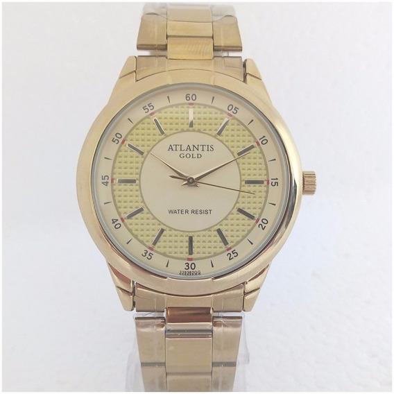 Relógio Masculino Dourado Atlantis Original Frete Incluso
