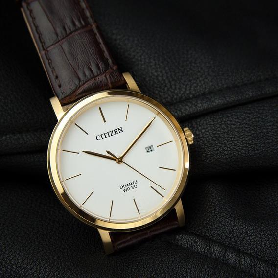 Reloj Hombre Citizen Bi5072-01a Linea Cuarzo Dorado Piel