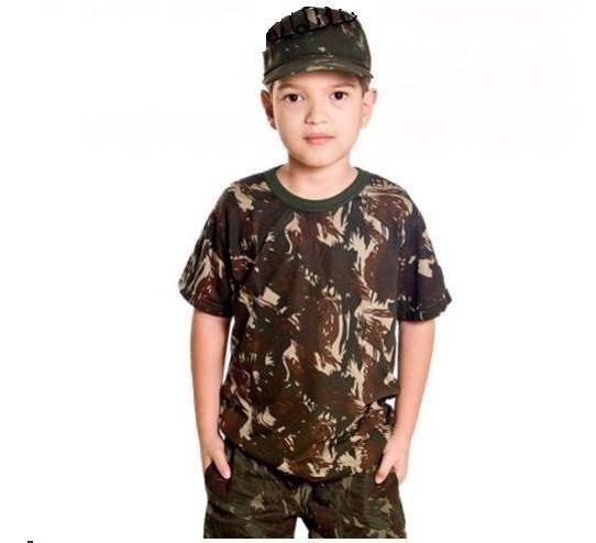 Camiseta Infantil Camuflada Padrão Eb Exército Brasileiro