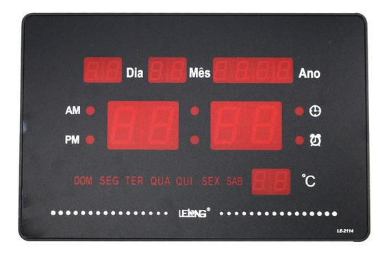 Relógio De Mesa Parede Digital Led Data Temperatura Bivolt