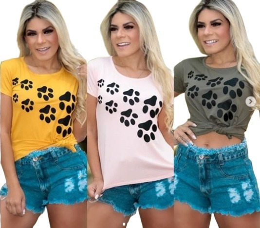 Blusinha Com Patinhas T-shirt Camisetas Modinha