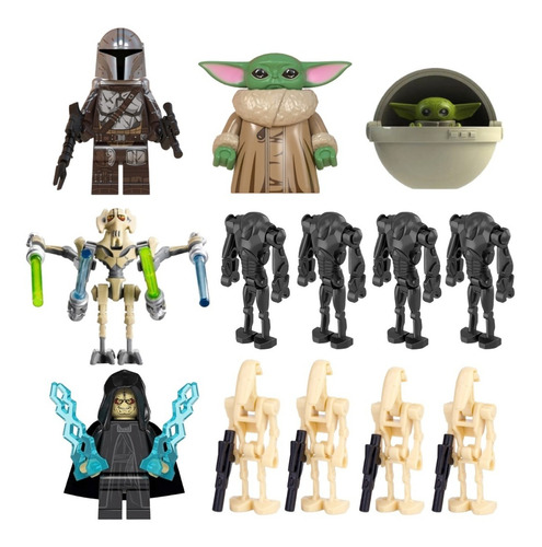 Imagen 1 de 8 de Pack Figuras Star Wars Mandalorian Baby Yoda Droides