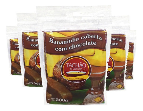 Imagem 1 de 4 de Bananinha Com Chocolate Tachão De Ubatuba 200g ( 5 Und )
