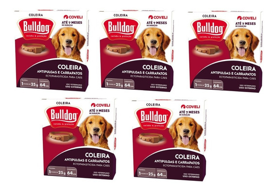 Coleira Anti Pluga Bulldog 7 Meses 5 Unid