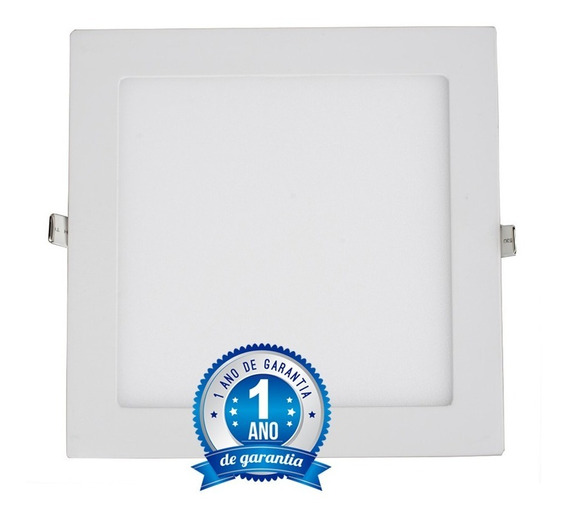 Kit 10 Painel Plafon 18w Led Quadrado Embutir Branco Frio