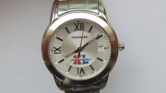 Relogio Tourneau Swiss Slim Data Texturizado Bracelete Aço I