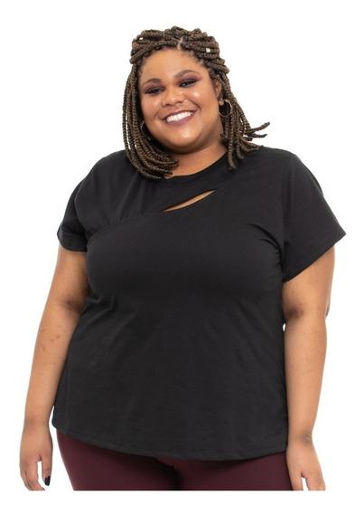 Camiseta Plus Size Wonder Size Malha Recorte Busto Preta