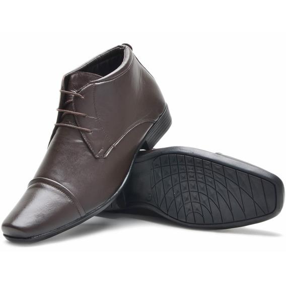 Bota Social Sapato Masculina Botina Em Couro