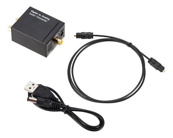 Conversor De Áudio Digital Para Analógico De 3,5 Mm Fibra Óp