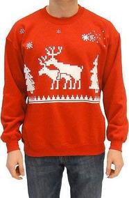Ugly Christmas Humping Reindeer Y Pine Trees Sudadera Roja P
