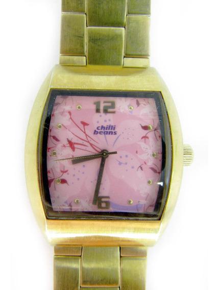 Relógio Chilli Beans Pulseira De Metal Dourado Feminino