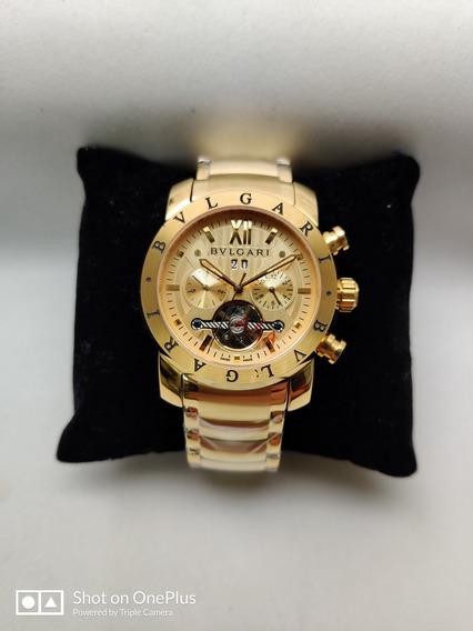 Relógio Masculino Bv Ironman Automatico Dourado Gold Em Aço