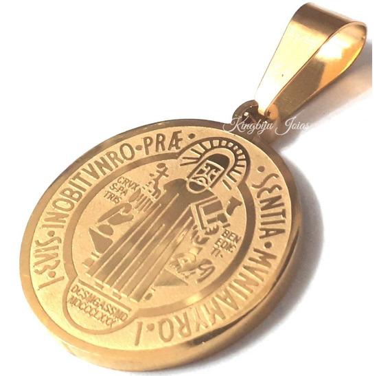 Medalha São Bento Dupla Face+ Cordão 70cm +pulseira Banhados