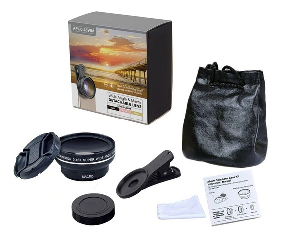 Kit Lente Fotográfica 0.45x 12.5x Olho De Peixe Widescreen - Smartphone Modelo Universal - Semiprofissional - Apexel