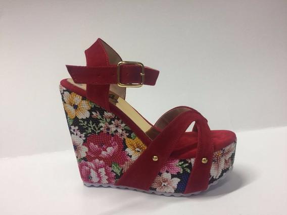 Sandalia En Plataforma Flores Color Rojo Moda Envío Gratis