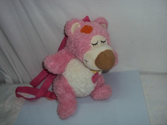 Bolsa De Pelucia Urso Rosa Tamanho 31cm