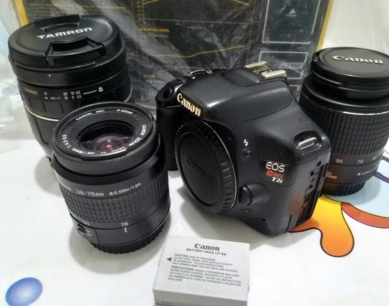 Canon T2i (com Defeito) + 3 Lentes (p/ Limpeza - Sujas)