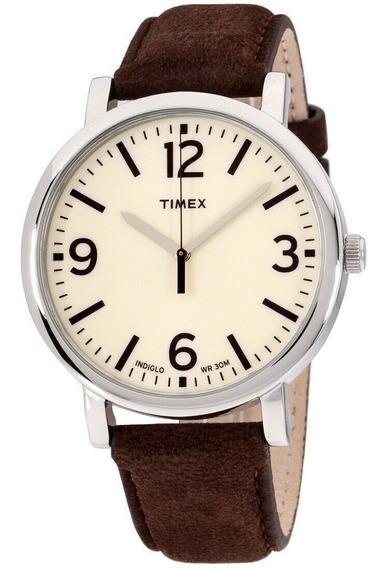 Reloj Timex Originals Cream T2p526 Correa Piel Chocolate