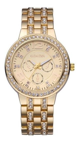 Relógio Feminino Luxo Pulseira Dourada Com Strass Oferta