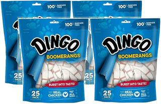 Dingo 4 Pack De Cuero Crudo Libres Trata Boomerang Con Pollo