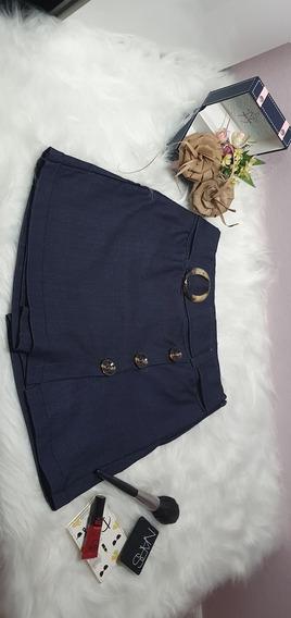 Shorts Saia Cintura Alta Com Cinto E Botoes Promoçao