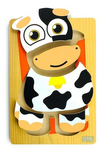 Imagen 1 de 2 de Rompecabezas Vaca 5 Piezas De Madera Juego Pipikuku