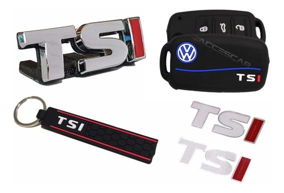 Kit Emblema + Capa Chave + Chaveiro + Adesivo Vw Up Tsi
