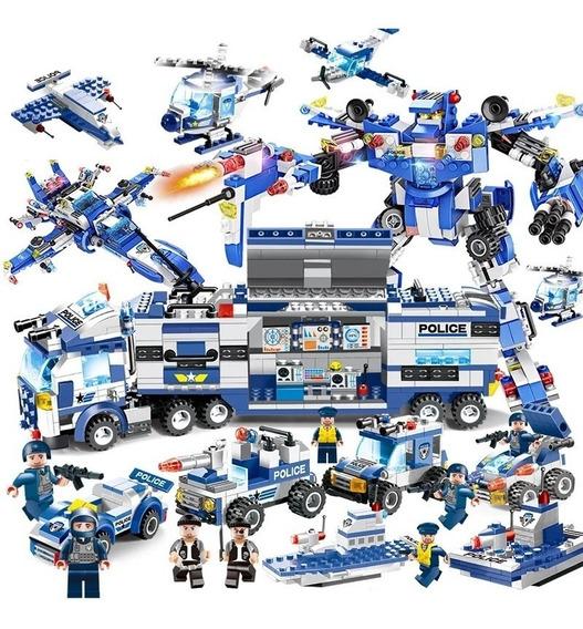 Brinquedo Caminhão 725 Peças Carros Barcos Helicóptero Le